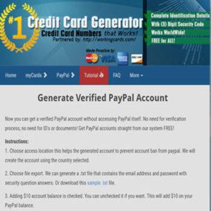 generador de tarjetas de credito paypal